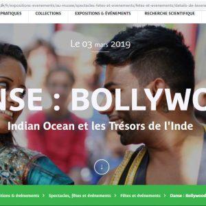 MUSÉE QUAI BRANLY – 2 ET 3 MARS 2019 – WEEK END INDE – DANSE : BOLLYWOOD Indian Ocean