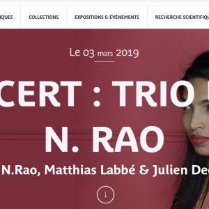 MUSÉE QUAI BRANLY – 2 ET 3 MARS 2019 – WEEK END INDE – CONCERT : TRIO UMA N. RAO Uma N.Rao, Matthias Labbé & Julien Decoret