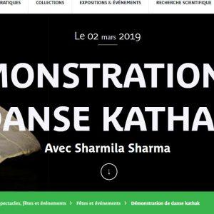 MUSÉE QUAI BRANLY – 2 ET 3 MARS 2019 – WEEK END INDE – DÉMONSTRATION DE DANSE KATHAK Avec Sharmila Sharma