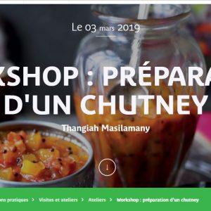 MUSÉE QUAI BRANLY – 2 ET 3 MARS 2019 – WEEK END INDE – WORKSHOP : PRÉPARATION D'UN CHUTNEY Thangiah Masilamany
