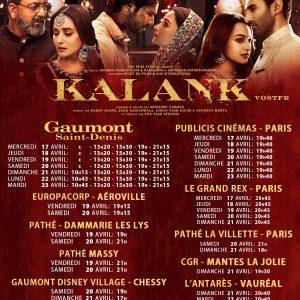 """""""KALANK"""" ,LE FILM ÉVÈNEMENT DIFFUSIONS EN FRANCE"""