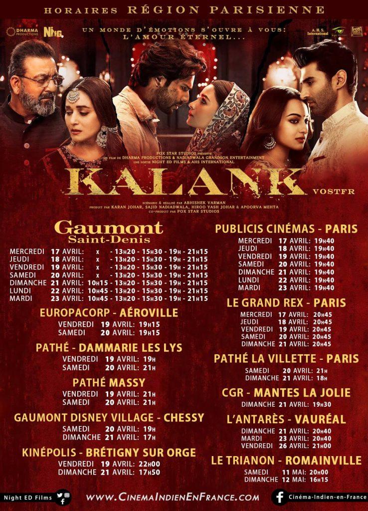 """""""KALANK"""" ,LE FILM ÉVÈNEMENT DIFFUSIONS EN FRANCE !"""