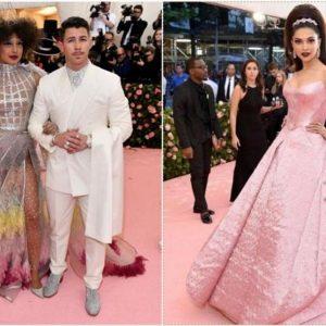 """Met Gala 2019: Des Célébrités Dévoilent Leur """"Look Campest"""" Sur Le Tapis Rouge  – Les nouveaux mariés Priyanka Chopra et Nick Jonas, qui se sont rencontrés en 2017 pour la première fois au Met Gala – La star de Bollywood, Deepika Padukone, a canalisé Barbie dans une grande robe rose"""